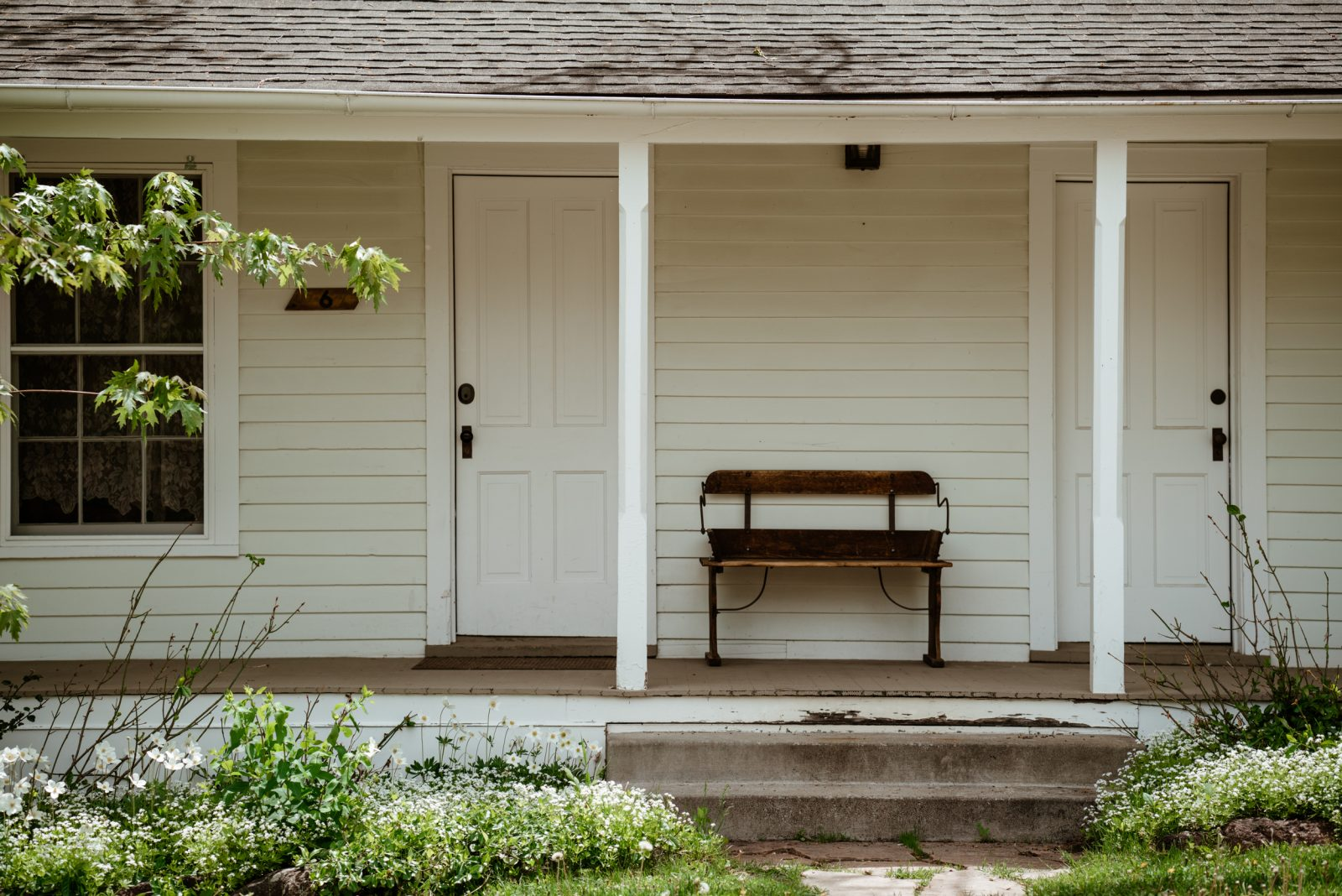 Cottage with bench