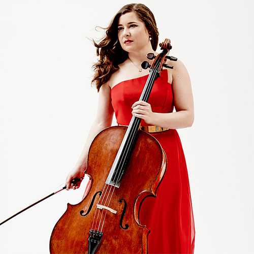 Woman in red dress with cello