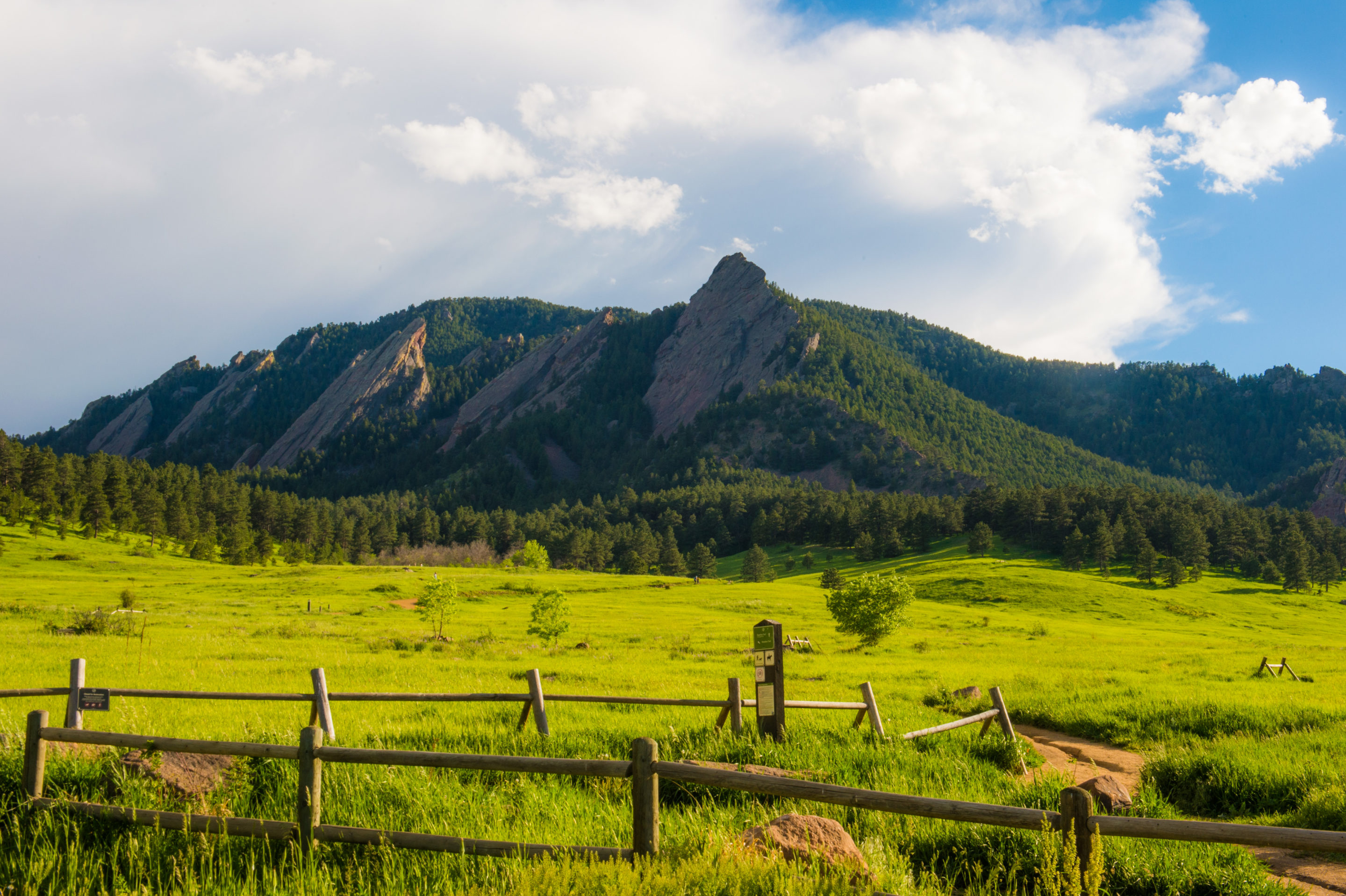 View of the Flatirons from Chautauqua Park entrance